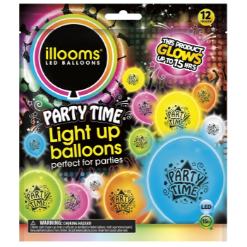 Picture of 15 HOUR LIGHT UP BALLOON - ASSORTED PARTY TIME