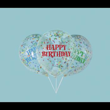 """Image de 12"""" CLEAR HAPPY BIRTHDAY MULTI PAPER CONFETTI"""