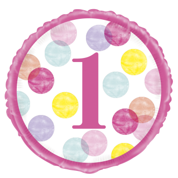 "Image de 18"" FOIL - PINK DOTS FIRST BIRTHDAY"