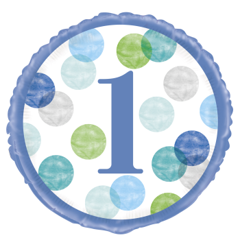 "Image de 18"" FOIL - BLUE DOTS FIRST BIRTHDAY"