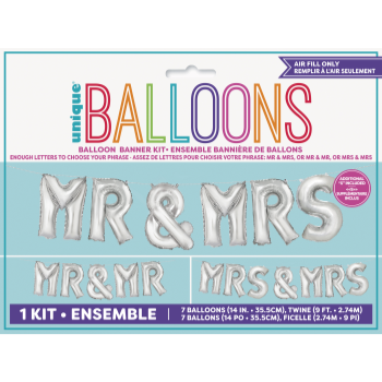 Picture of FOIL BALLOON BANNERS - MR. & MRS. SILVER