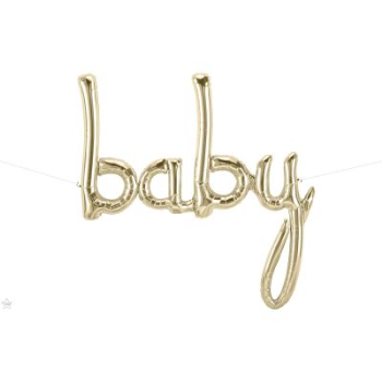"Picture of 46"" MYLAR BALLOON BANNER - SCRIPT BABY - WHITE GOLD MYLAR"