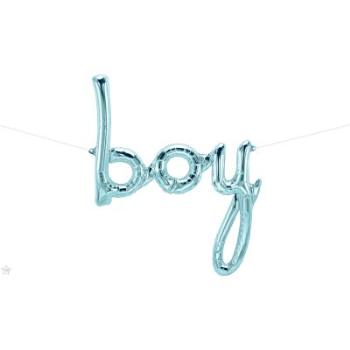 "Picture of 44"" MYLAR BALLOON BANNER - SCRIPT BOY PASTEL BLUE"