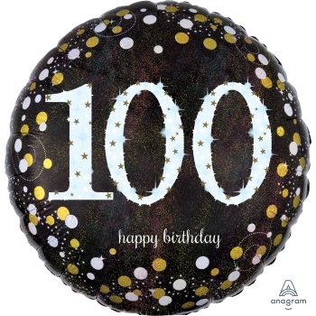"Picture of 100th - 18"" FOIL BALLOON - SPARKLING BLACK & GOLD"