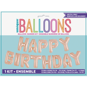 Picture of FOIL BALLOON BANNERS - ROSE GOLD  HAPPY BIRTHDAY - AIR FILLED