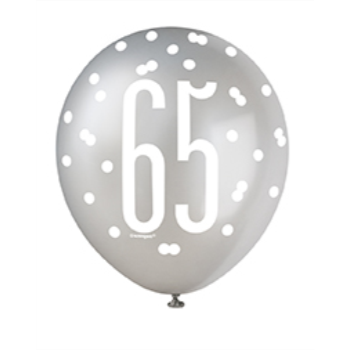 "Picture of 65th 12"" GLITZ BLACK BALLOONS"