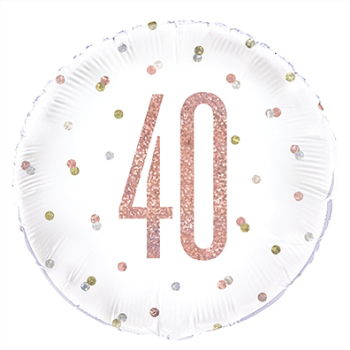 "Picture of 40th - 18"" FOIL BALLOON - GLITZ ROSE GOLD"