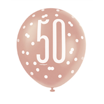"Picture of 50th - 12"" GLITZ ROSE GOLD BALLOONS"