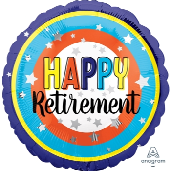 "Picture of 18"" FOIL - HAPPY RETIREMENT COLORFUL CIRCLES"