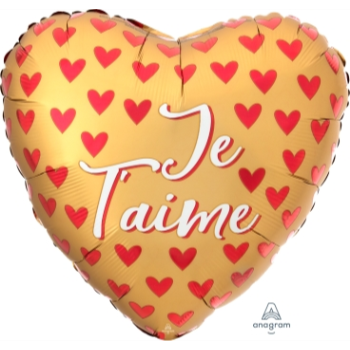 "Picture of 18"" FOIL - JE T'AIME SATIN RED HEARTS"