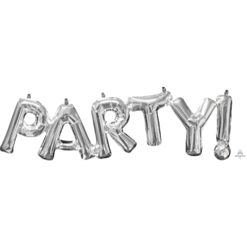 """Picture of FOIL BALLOON BANNERS - SILVER PARTY 16"""" AIR FILLED"""