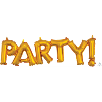 """Image de FOIL BALLOON BANNERS - GOLD PARTY 16"""" AIR FILLED"""