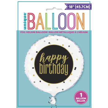 "Image de 18"" FOIL - HAPPY BIRTHDAY BLACK/WHITE/GOLD"