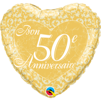 "Picture of 50th - 18"" FOIL BALLOON - 50ieme ANNIVERSAIRE COEUR"