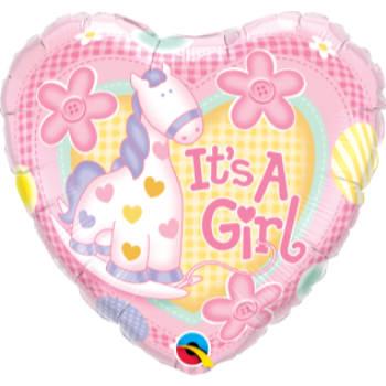 "Image de IT'S A GIRL SOFT PONY 18"" FOIL BALLOON"