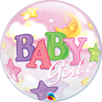 Image de BABY GIRL MOON & STARS BUBBLE BALLOON