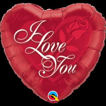 """Image de 18"""" FOIL - I LOVE YOU RED ROSE"""