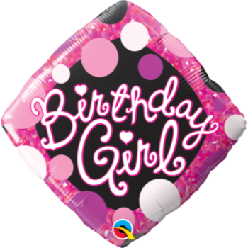 "Picture of 18"" FOIL - BIRTHDAY GIRL PINK & BLACK"