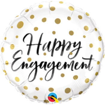 "Image de 18"" FOIL - HAPPY ENGAGEMENT GOLD POLKA DOT"