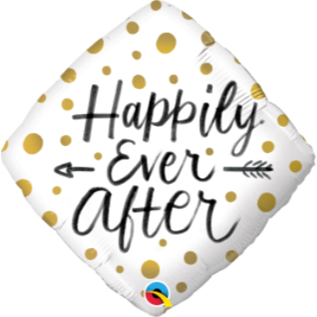 "Image de 18"" FOIL - HAPPILY EVER AFTER GOLD DOTS DIAMOND SHAPE"