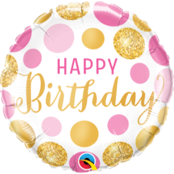 "Picture of 18"" FOIL - BIRTHDAY PINK & GOLD DOTS"