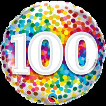 """Image de 100th - 18"""" FOIL BALLOON - RAINBOW CONFETTI"""