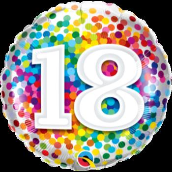 """Image de 18"""" FOIL - 18th RAINBOW CONFETTI"""