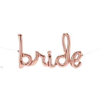 "Picture of 46""  MYLAR BALLOON BANNER SCRIPT - BRIDE - ROSE GOLD"