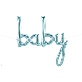 "Picture of 46"" MYLAR BALLOON BANNER - SCRIPT BABY PASTEL BLUE"