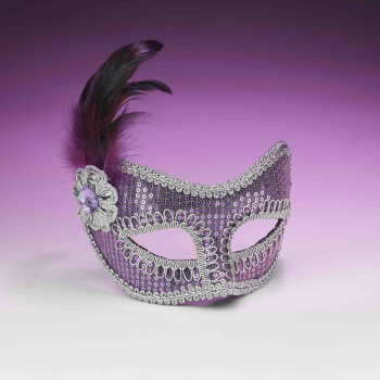 Picture of SEQUIN MASKS WITH FEATHER - PURPLE