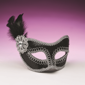 Picture of SEQUIN MASKS WITH FEATHERS - BLACK