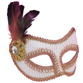 Picture of SEQUIN MASKS WITH FEATHERS - WHITE
