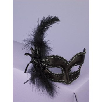 Picture of SATIN BLACK HALF MASK WITH FEATHER