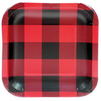 """Picture of TABLEWARE - BUFFALO PLAID - 9"""" SQUARE PLATES"""