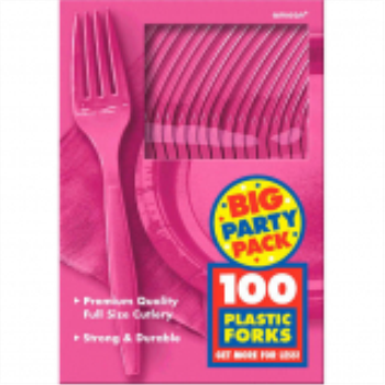 Picture of BRIGHT PINK FORKS - BIG PARTY PACK