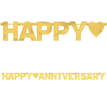 Picture of HAPPY ANNIVERSARY LARGE LETTER BANNER - GOLD
