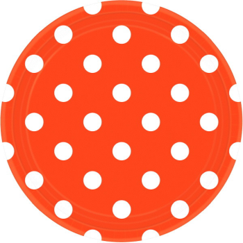 """Picture of ORANGE DOTS 9"""" PLATES"""