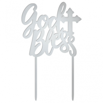 Picture of DECOR - GOD BLESS MIRRORED CAKE TOPPER