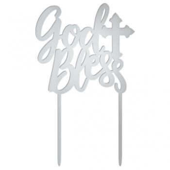 Image de DECOR - GOD BLESS MIRRORED CAKE TOPPER