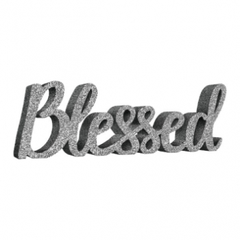 Picture of DECOR - SILVER BLESSED SCRIPT MDF SIGN