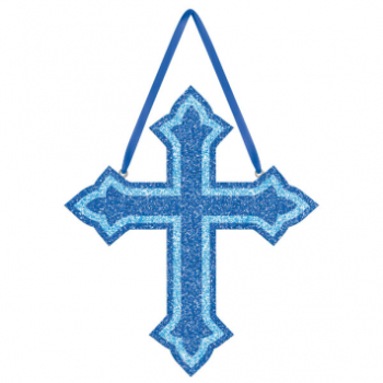 Picture of DECOR - GLITTER CROSS FOAM HANGING SIGN - BLUE
