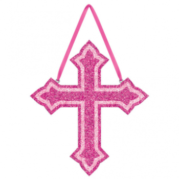 Picture of DECOR - GLITTER CROSS FOAM HANGING SIGN - PINK