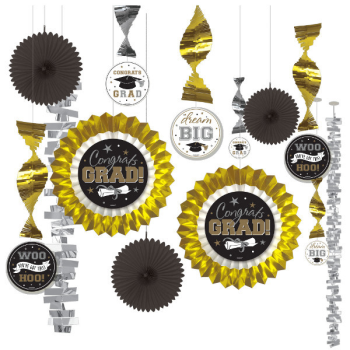 Picture of DECOR - GRAD PAPER AND FOIL DECORATING KIT - BLACK/GOLD/SILVER