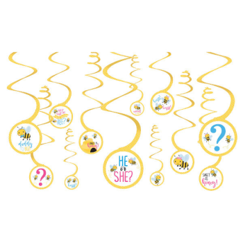 Image de GENDER REVEAL - WHAT WILL IT BEE? SWIRL DECORATIONS