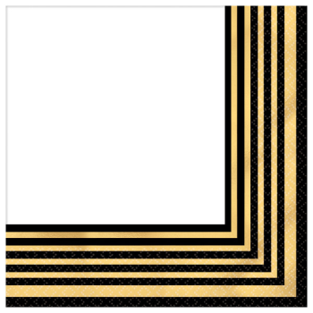 Image de GOLD STRIPE BEVERAGE NAPKINS