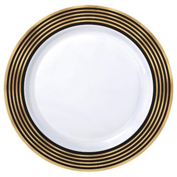 """Image de GOLD STRIPE 10"""" PLASTIC PLATES 10CT"""