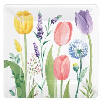 "Picture of Tulip Garden 7"" square plates"