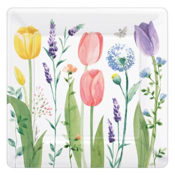 "Picture of Tulip Garden 10"" square plates"