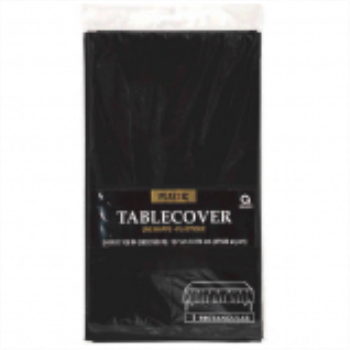 Picture of BLACK PLASTIC TABLE COVER 54 X 108