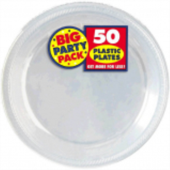 "Picture of CLEAR 10.25"" PLASTIC PLATES - BIG PARTY PACK"
